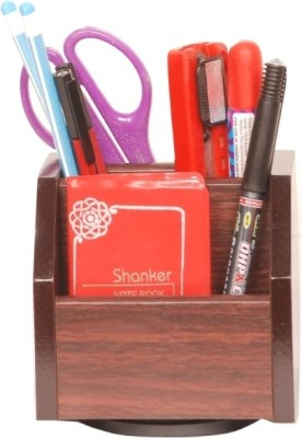 Homeshopeez One 4 Compartments Wood Pen Stand