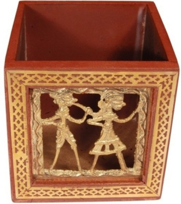 Bajya Two Guys 1 Compartments Wooden Pen Stand