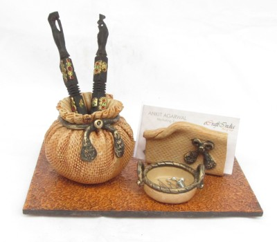 eCraftIndia Matki - For Office Table 1 Compartments Papier-Mache Pen Stand