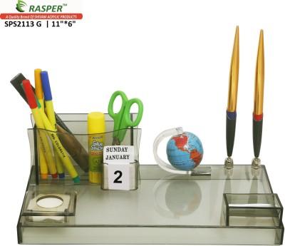 Rasper Multipurpose 3 Compartments Acrylic Pen Stand For Office