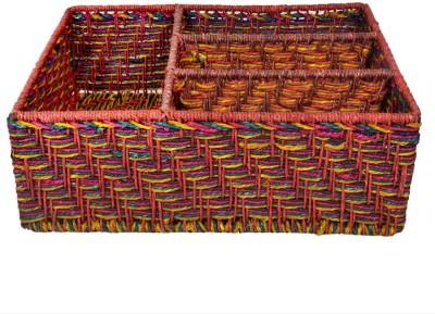 MayurShilpa 4 Compartments Sabai Grass, Iron Frame Letter Holder