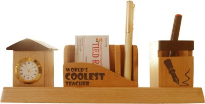 Tiedribbons Tabletop-129 1 Compartments Wooden Desk Sets