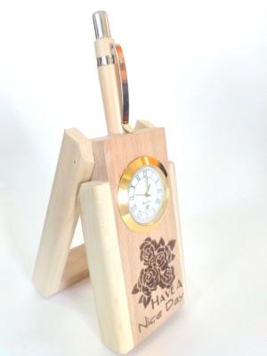 RajLaxmi 2 Compartments wooden pen stand