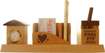 Tiedribbons Tabletop-114 1 Compartments Wooden Desk Sets