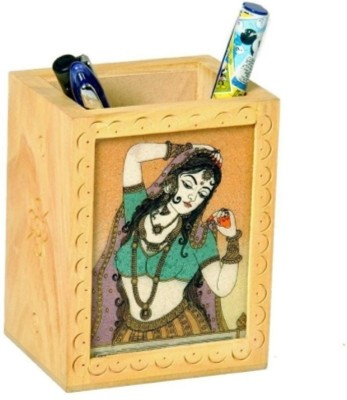 Bajya 1 Compartments Wooden Pen Stand