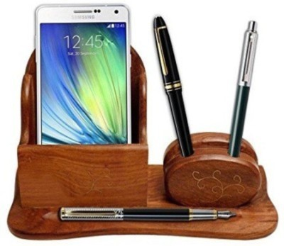 Onlineshoppee 2 Compartments Wooden Mobile & Pen Holder