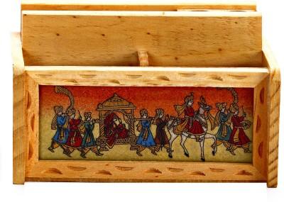 Aapno Rajasthan GemStone2 5 Compartments Wood Paper Cum Pen Holder