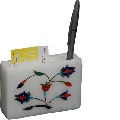 MNE 3 Compartments marble pen stand with card holder
