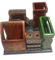 MARIYAM 5 Compartments Wooden Pen holder, Card holder, Pencil holder, Mobile holder and Tea coaster.(Multicolor) best price on Flipkart @ Rs. 900