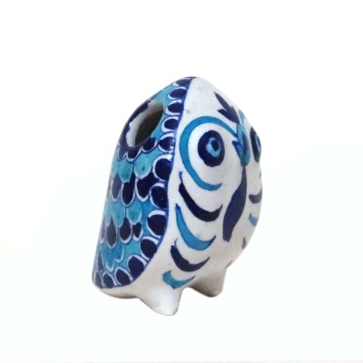 Aurea 1 Compartments Blue Pottery / Ceramic Owl Penstand