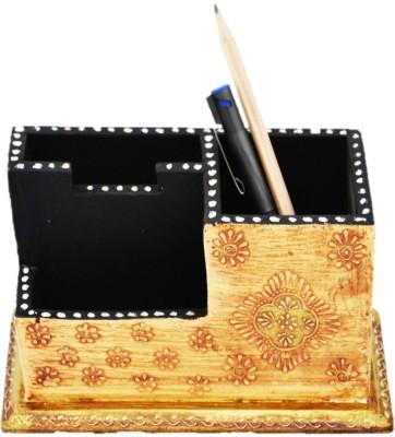 Artlivo Desk Organizer 3 Compartments Wood Pen Stand