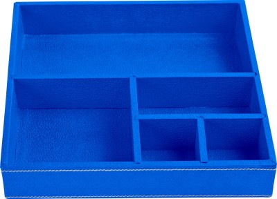 Ecoleatherette Regular 5 Compartments Leatherette Office Tray(Denim blue)