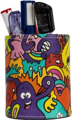 Thecrazyme Mr Doodle 1 Compartments Eco-Friendly leatherette Pen Stand