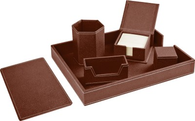 Ecoleatherette Regular 6 Compartments Leatherette Desktop Office Set(Dark Brown)