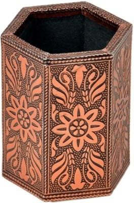 Bajya Oxidised Jaipuri Design Bronze Metal 1 Compartments Borosilicate Glass Pen Stand