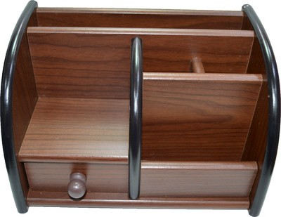 Pens And More Office Accessories 6 Compartments Wood Multipurpose Tumbler