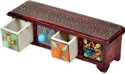 Bajya Wooden Ceramic Blue Pottery 4 Drawer Set 4 Compartments Wooden Burst Proof