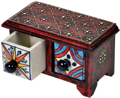 Bajya Wooden Ceramic Blue Pottery Double Drawer Set 2 Compartments Wooden Burst Proof