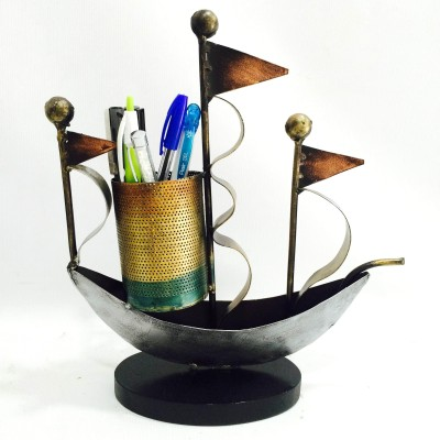 Shivay Arts Ship 1 Compartments Iron Pen Holder