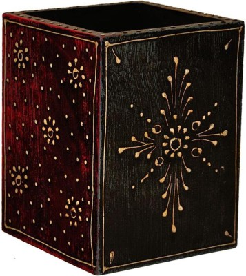 Craftghar Hand Painted 1 Compartments Wooden Pen Stand