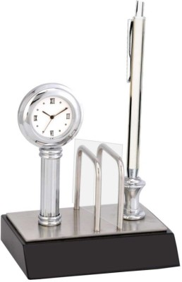 Excelencia Modern Office 2 Compartments Metal Table Clock With Visting Card Holder And Pen Stand