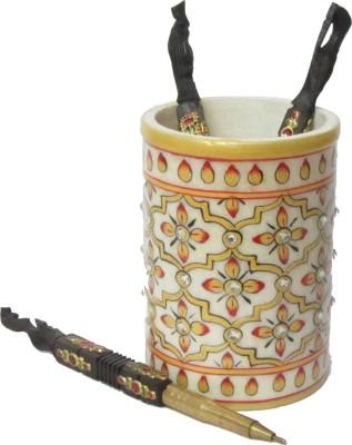 eCraftIndia Decorative 1 Compartments Makrana Marble Pen Stand