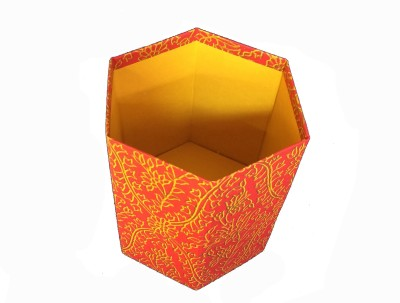 Creates & Designs 1 Compartments Handcrafted Collapsible Hexagonal Waste Paper Bin Eco-Friendly