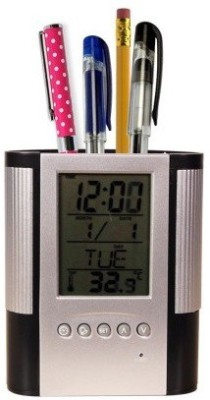 Riyas 1 Compartments Plastic Clock& Pen Holder