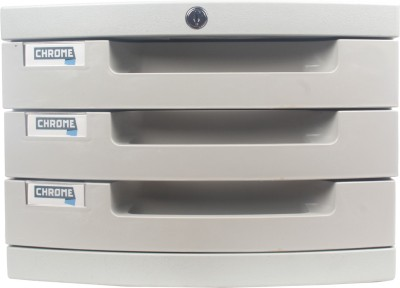 Chrome 3 Compartments Plastic File Cabinet Drawers