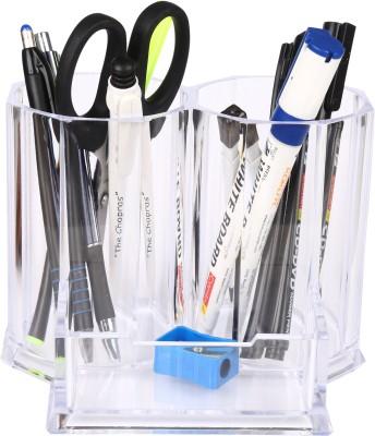 Kejea Crystal 3 Compartments Plastic Desk Organizer