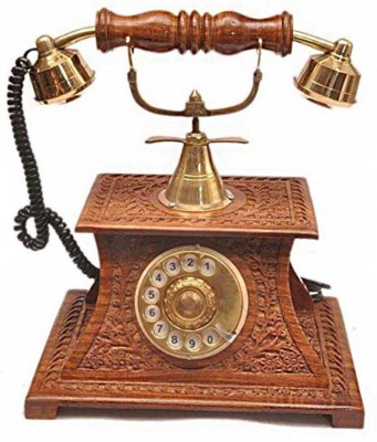 ANTIQUA V GROUP 1 Compartments WOODEN, BRASS showpiece telephone