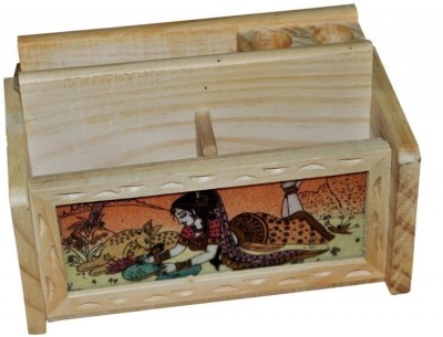 Sovam International 3 Compartments Wooden Pen Stand