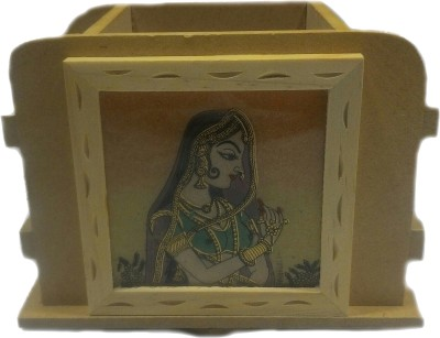 SportsHouse 3 Compartments Wooden Handicraft Pen Holder
