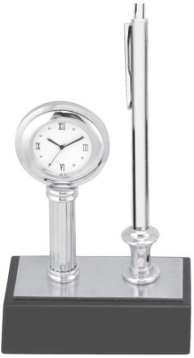 Excelencia Modern Office 1 Compartments Metal Table Clock with Pen and a Pen Stand