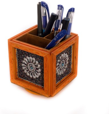 eCraftIndia ESR009-Stationary 3 Compartments Wooden Pen Stand