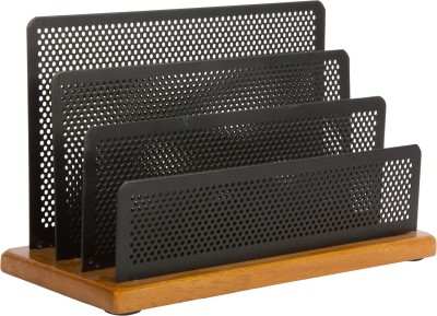 Callas 3 Compartments Wooden Metal Mesh Letter Holder
