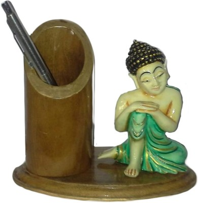 Advent Crafts Buddha Idol 1 Compartments Wooden Pen Stand