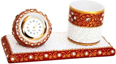 Handicrafts Paradise Hpmr 1 Compartments Marble Pen Holder With Clock