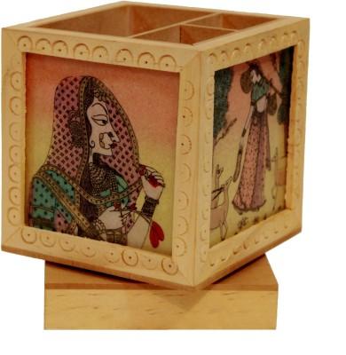 Craft International Carved 3 Compartments Wood Pen Holder