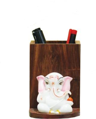 SR Crafts 1 Compartments Wooden, Fiber Pen Stand