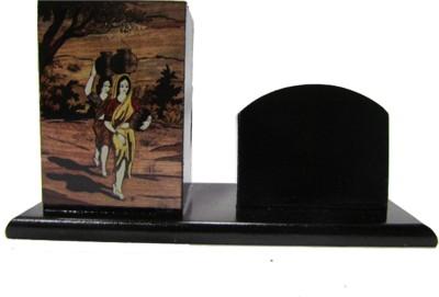 S C Handicrafts Singiri 2 Compartments Wooden Pen Stand