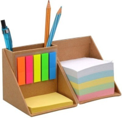 Weltbild 3 Compartments Card Board Pen Stand With Sticky Notes