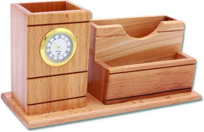 Radius In YS 3 Compartments Wooden Pen Stand