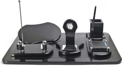 Crea Pen Holder, Post It Box, Card, Plaque, Clock 5 Compartments Metal Desk Set