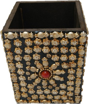 JaipurCrafts Silver Flower 1 Compartments Wood Pen Stand