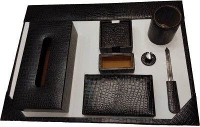 Leather Mall 1 Compartments Leather Desk Pad