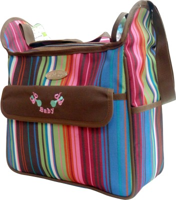 1st Step Stripe Messenger Diaper Bag