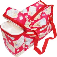 Ole Baby Premium Multi Purpose Teddy Bear Print with Warmer Tote Diaper Bag(Red)