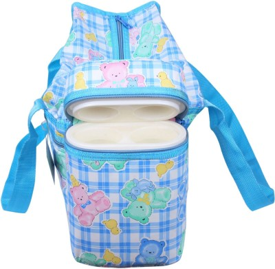 Ole Baby Cyan Premium Multi color Teddy Checks Prints With Warmer Tote Diaper Bag