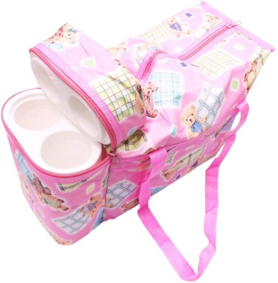 Babyofjoy Teddy Print Tote Diaper Bag and Bottle Warmer Attached